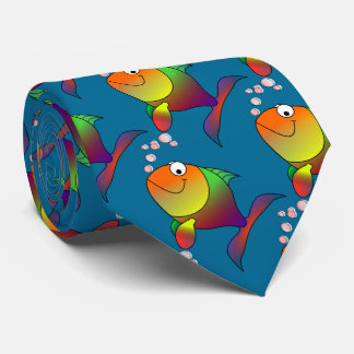 Joyful Goldfish in Sea Blue Water Tie