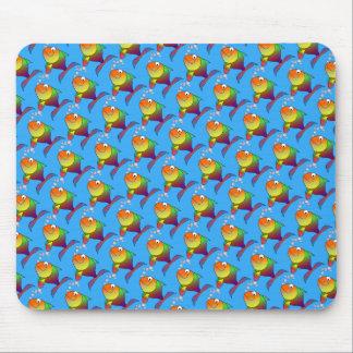 Joyful Goldfish in Sea, Light Blue Mouse Pad