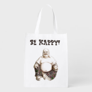 Joyful happy laughing Buddha Reusable Grocery Bag