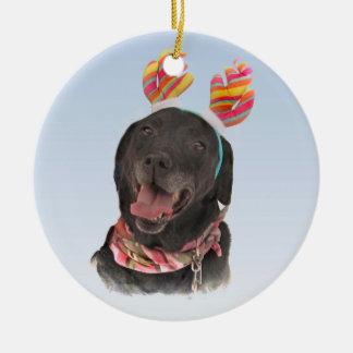 Joyful Holiday Black Labrador Retriever Dog Ceramic Ornament