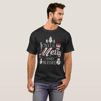 Joyful Merry And Blessed Merry Christmas Distress T-Shirt