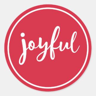 Joyful Modern Holiday Classic Round Sticker