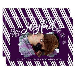 Joyful Purple Candy Cane Stripes Photo Card