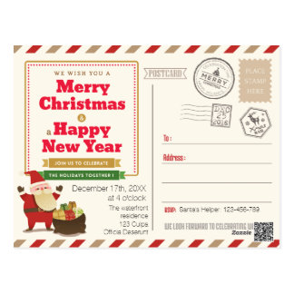 Joyful Santa Claus Christmas party invitation Postcard