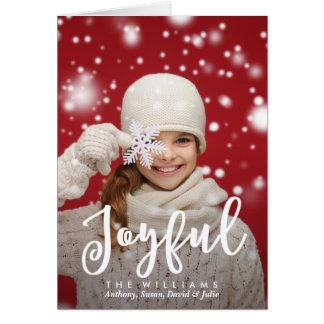 Joyful Script Modern Christmas   Holiday Photo Card
