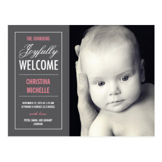 Joyful Welcome Birth Announcement Postcard