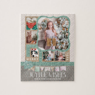 Joyful Wishes Christmas 6 Custom Photo Collage Jigsaw Puzzle