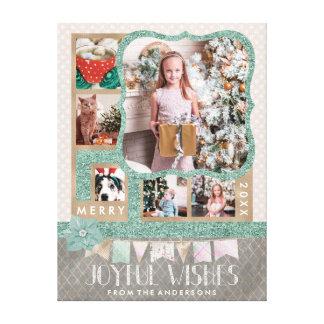 Joyful Wishes Christmas 6 Photo Collage Wrapped Canvas Print