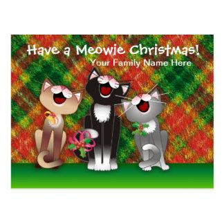 Joyfull Plaid Cats Post Cards