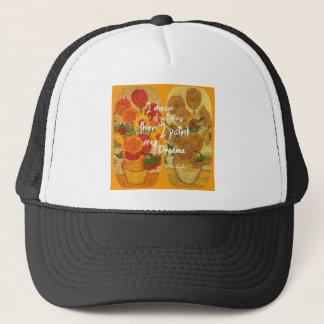 Joyous and sad  sunflowers trucker hat