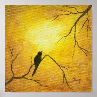 Joyous Bird Art on Branch Golden Sunshine Brown Poster