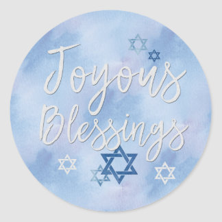Joyous Blessings Hanukkah Blue & White Watercolor Classic Round Sticker
