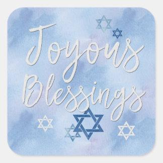 Joyous Blessings Hanukkah Blue & White Watercolor Square Sticker