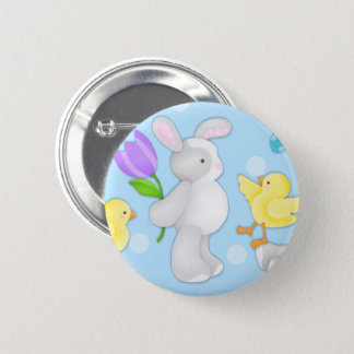 Joyous Easter Bunny and Chick Round Button