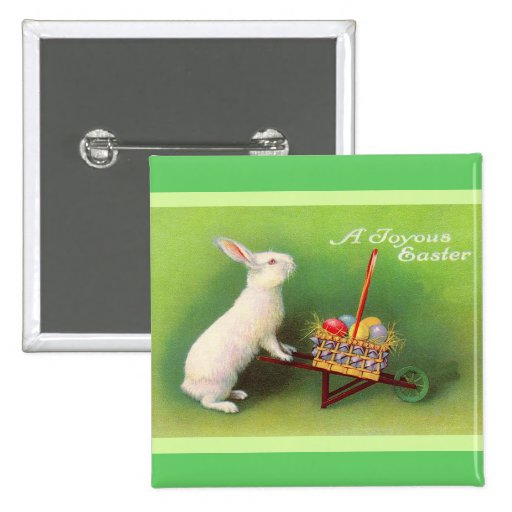 Joyous Easter Rabbit Basket Eggs Pinback Buttons