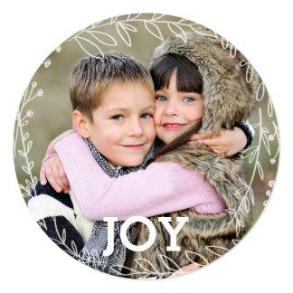 "Joyous Laurel Wreath Holiday Photo Card 5.25"" Square Invitation Card"