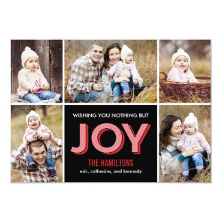 "Joyous Moments Holiday Collage Photo Card 5"" X 7"" Invitation Card"