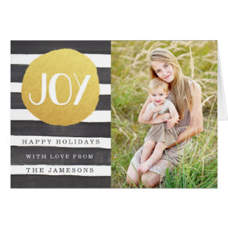 Joyous Stripes Holiday Photo Greeting Card