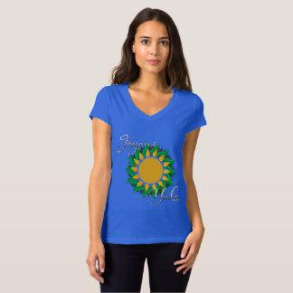 Joyous Sun Wreath Ladies Jersey V-Neck T-shirt