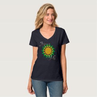 Joyous Sun Wreath Ladies Nano V-Neck T-Shirt