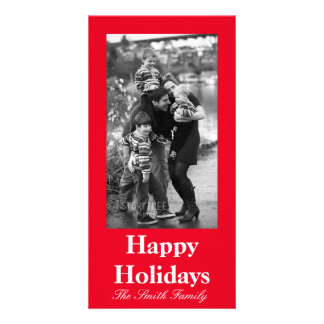 Joyously Jolly Red Color Customizable Photo Cards