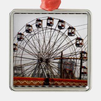 JoyRides Picnic Spot NewDelhi India Festivals Silver-Colored Square Ornament