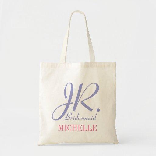 Jr bridesmaid lilac pink tote bag for flower girl bag