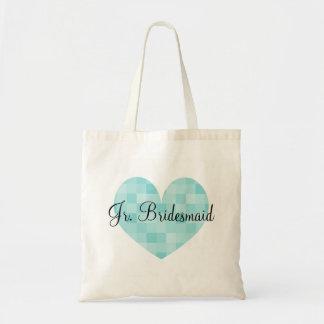 Jr Bridesmaid turquoise mosaic tile heart tote bag