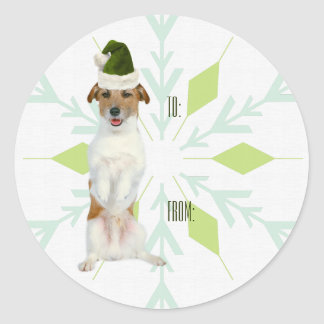 JRT Dog Gift Tag Stickers | Green Christmas