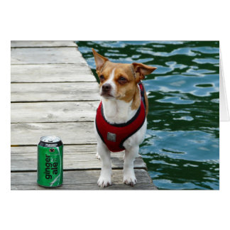 JRT in Red Vest on Boat Dock Greeting Card