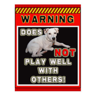 JRT WARNING - DOES NOT PLAY WELL WITH OTHERS! POSTCARD