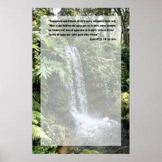Juan 4:13 con Cascada Poster