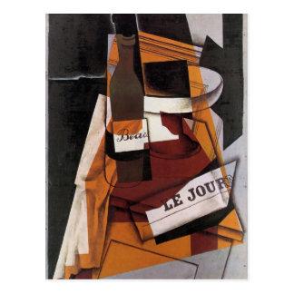 Juan Gris art: Bottle, Newspaper and Fruit Bowl Postcard
