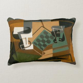 Juan Gris - Chessboard, Glass, and Dish Decorative Pillow