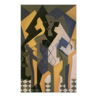 Juan Gris - Harlequin with table Poster