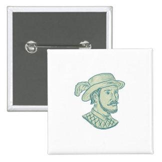 Juan Ponce de Leon Explorer Drawing 2 Inch Square Button