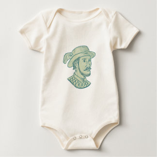 Juan Ponce de Leon Explorer Drawing Baby Bodysuit