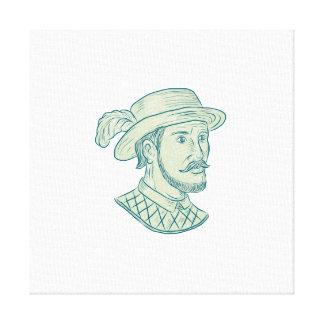 Juan Ponce de Leon Explorer Drawing Canvas Print