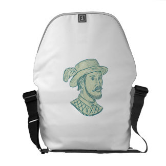 Juan Ponce de Leon Explorer Drawing Messenger Bags