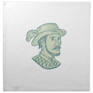 Juan Ponce de Leon Explorer Drawing Napkin