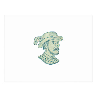 Juan Ponce de Leon Explorer Drawing Postcard