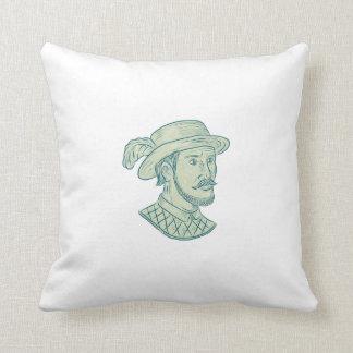Juan Ponce de Leon Explorer Drawing Throw Pillow