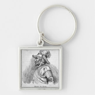 Juan Ponce de Leon Silver-Colored Square Keychain