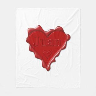Juan. Red heart wax seal with name Juan Fleece Blanket