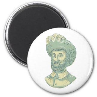 Juan Sebastian Elcano Bust Drawing 2 Inch Round Magnet