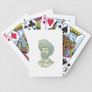 Juan Sebastian Elcano Bust Drawing Bicycle Playing Cards