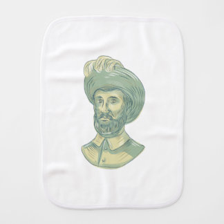 Juan Sebastian Elcano Bust Drawing Burp Cloth