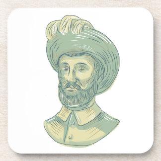 Juan Sebastian Elcano Bust Drawing Coaster