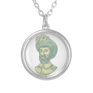 Juan Sebastian Elcano Bust Drawing Silver Plated Necklace