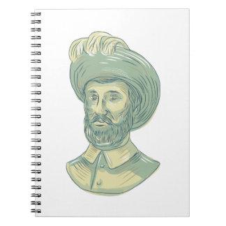 Juan Sebastian Elcano Bust Drawing Spiral Notebook